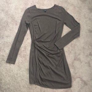 Ruched Long-Sleeve Mini Dress